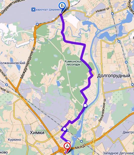 карта объезда в Шереметьево,